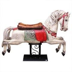 German Hand Carved Wood and Painted Carousel Horse with Saddle Seat 19th Century