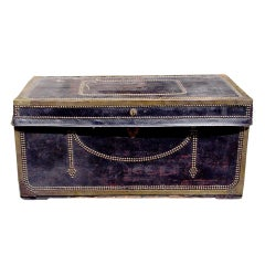 English Leather Blanket Chest. Circa 1820-30