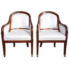 Pair of French Mahogany Bergere Chairs, Circa 1820