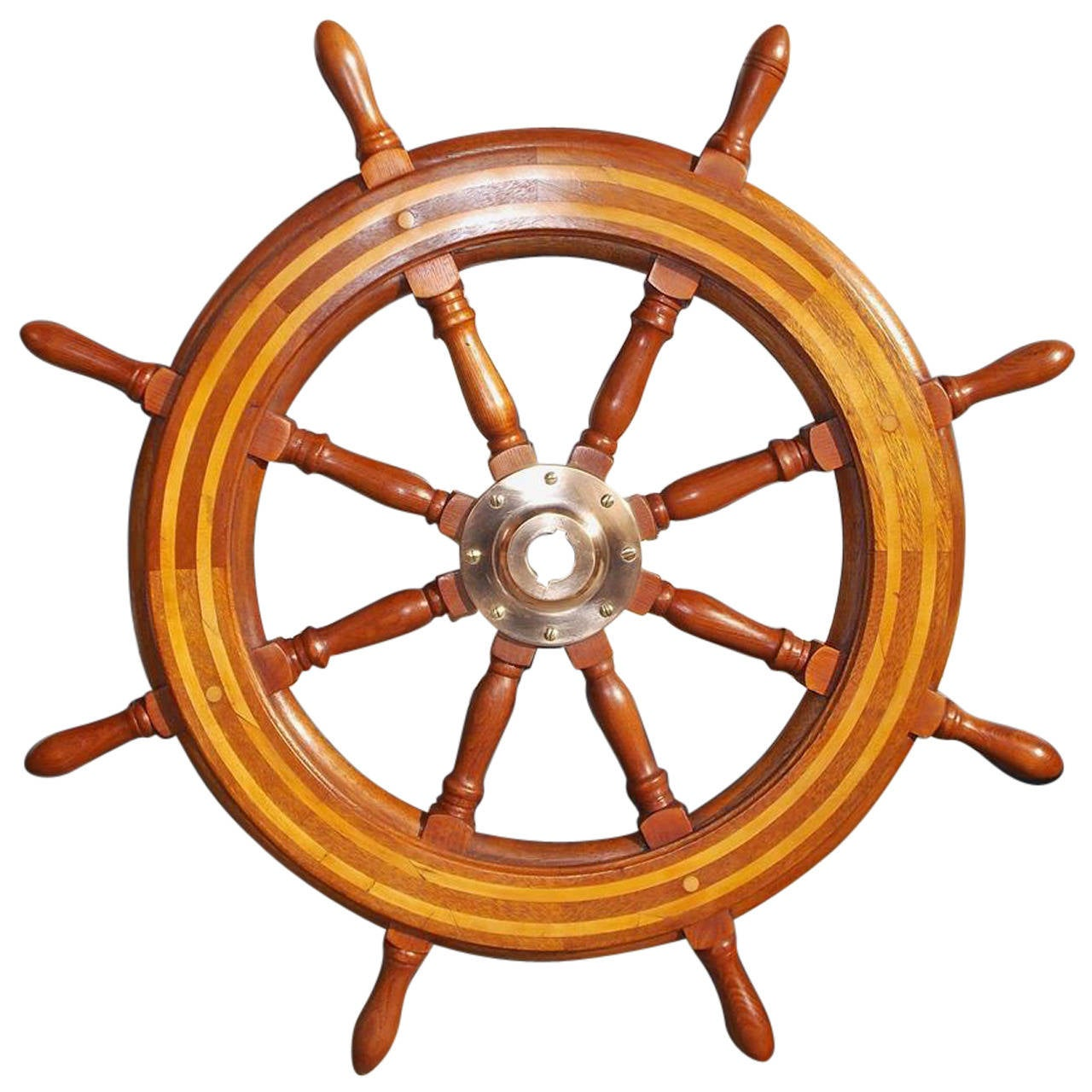 American Walnut and Maple Inlaid Ships Wheel. Circa 1850