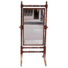 English Regency Mahogany Ebonized Cheval Mirror. Circa 1810