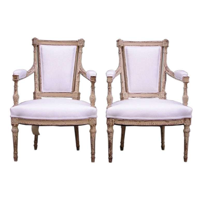 Pair of Italian Painted Arm Chairs
