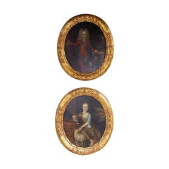 Pair of English Oval Oil on Canvas  Portraits