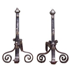 Pair of Italian Wrought Iron Andirons