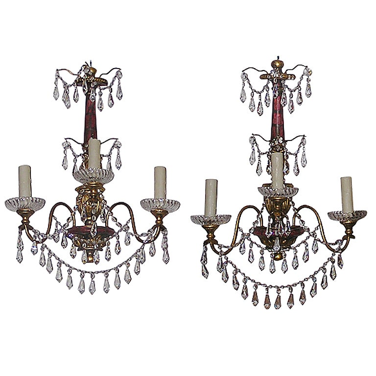 Pair of Italian Polychromed and Crystal Sconces