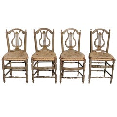 Set of Four Italian Lyre Back Painted and Gilt Side Chairs