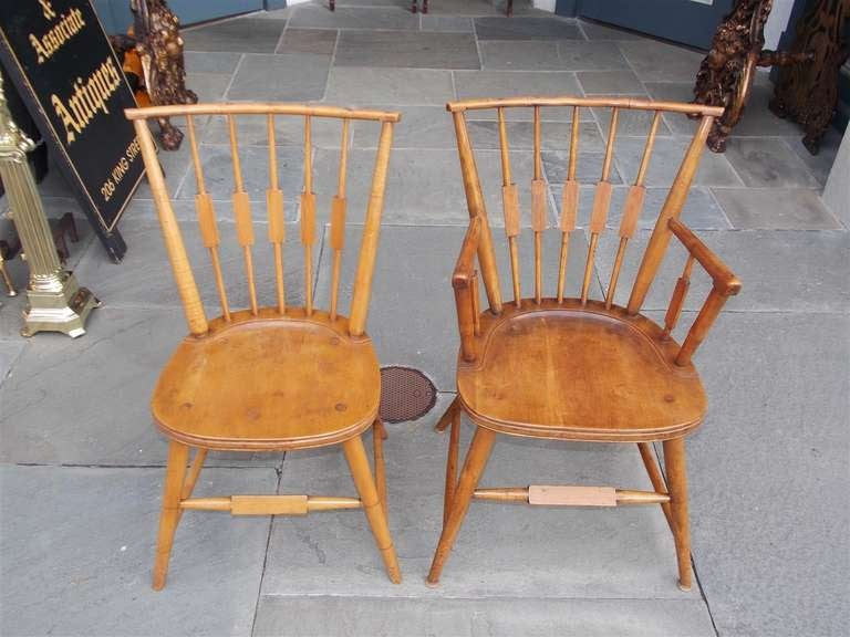 Set of six American maple, cherry and walnut windsor chairs. Two arms and four sides.  Virginia, Circa 1820.