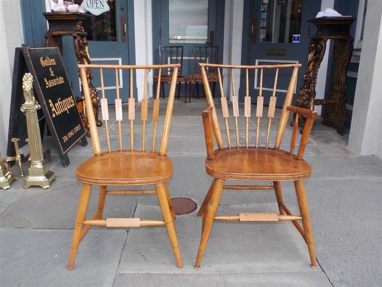 Set of Six American Maple, Cherry and Walnut Windsor Chairs, Circa 1820 In Excellent Condition In Charleston, SC