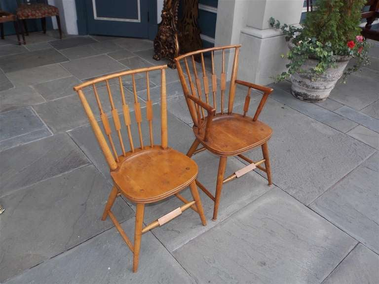 19th Century Set of Six American Maple, Cherry and Walnut Windsor Chairs, Circa 1820