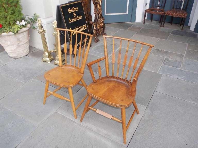 Set of Six American Maple, Cherry and Walnut Windsor Chairs, Circa 1820 1