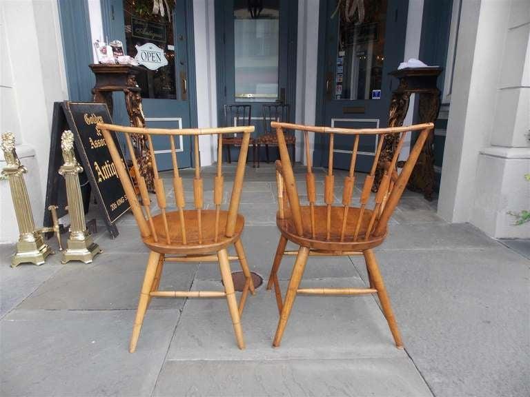 Set of Six American Maple, Cherry and Walnut Windsor Chairs, Circa 1820 2