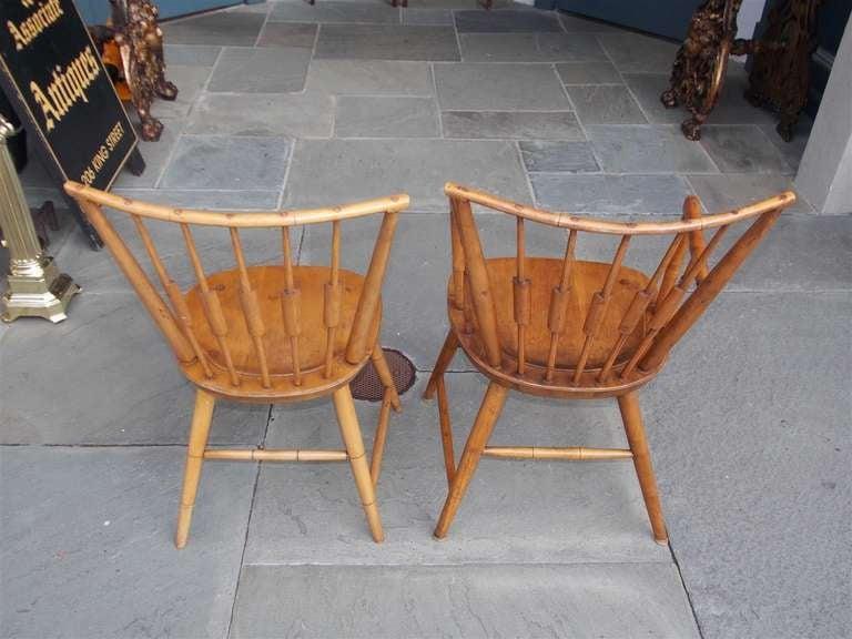 Set of Six American Maple, Cherry and Walnut Windsor Chairs, Circa 1820 3