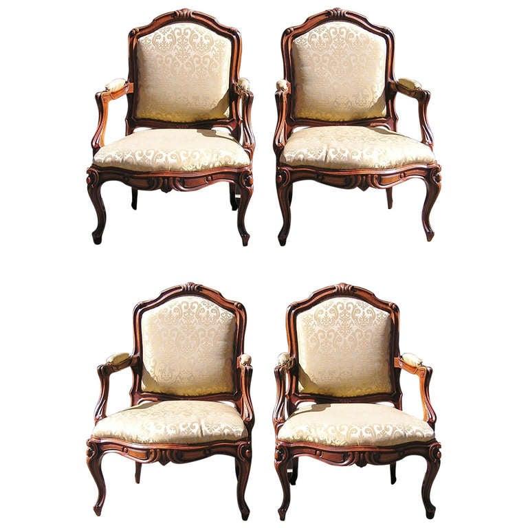 Set of Four Italian Walnut Bergere Chairs, Circa 1790