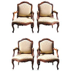 Set of Four Italian Walnut Bergere Chairs, Circa 1790