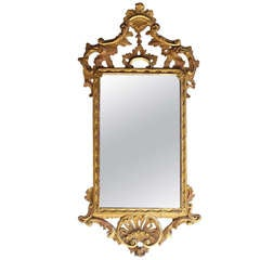 English Chippendale Gilt Carved Wood Mirror.  Circa 1770-80