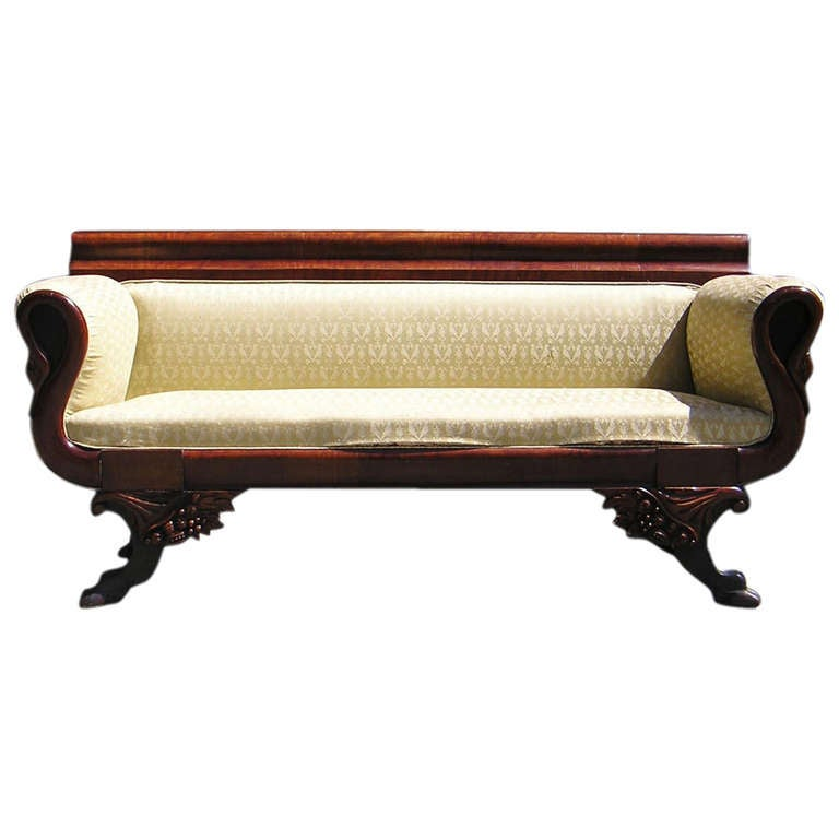 American Mahogany Classical Swan Sofa, Philadelphia, Circa 1815 For Sale