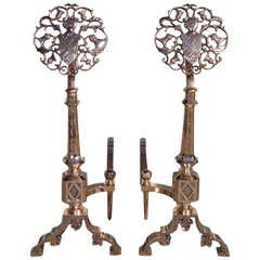 Pair of French Bell Brass Medallion and Coat of Arms Andirons. C. 1830