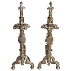 Pair of English Bronze Gothic Decorative Floral and Finial Andirons. Circa 1740