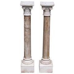 Pair of Italian Corinthian Column Hand Carved Marble Pedestals, Circa 1830