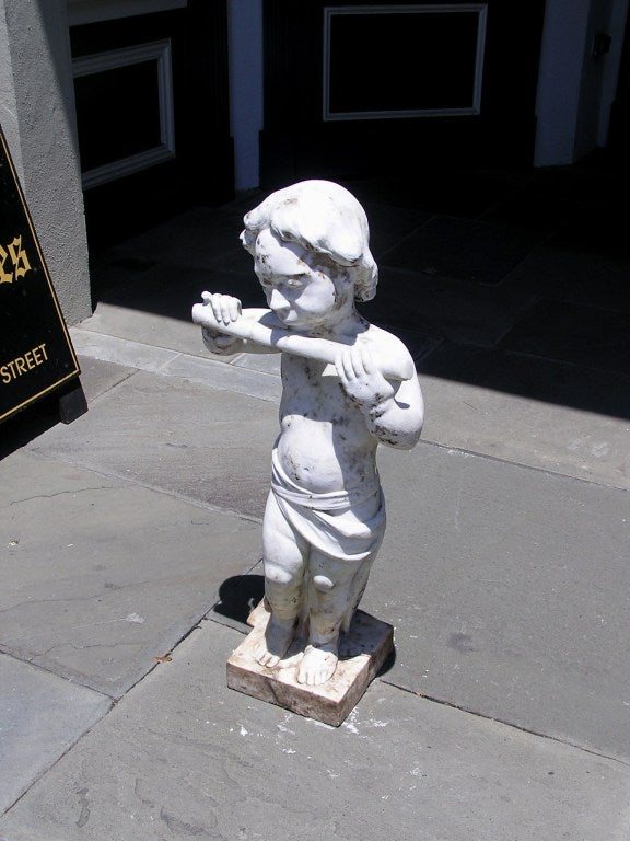 French Marble Statue of Pan In Excellent Condition For Sale In Charleston, SC