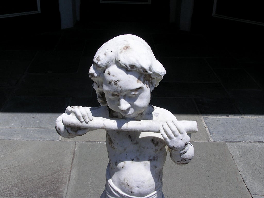 19th Century French Marble Statue of Pan For Sale