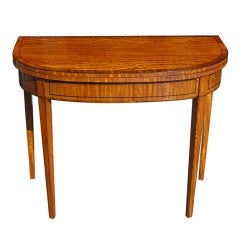 English Hepplewhite Satinwood Inlaid Demi-Lune Game Table, Circa 1780