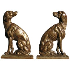 Pair Of American Brass Dog Doorstops / Book Ends. Circa 1870