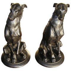 Pair of American Bronze Dog Sculpures