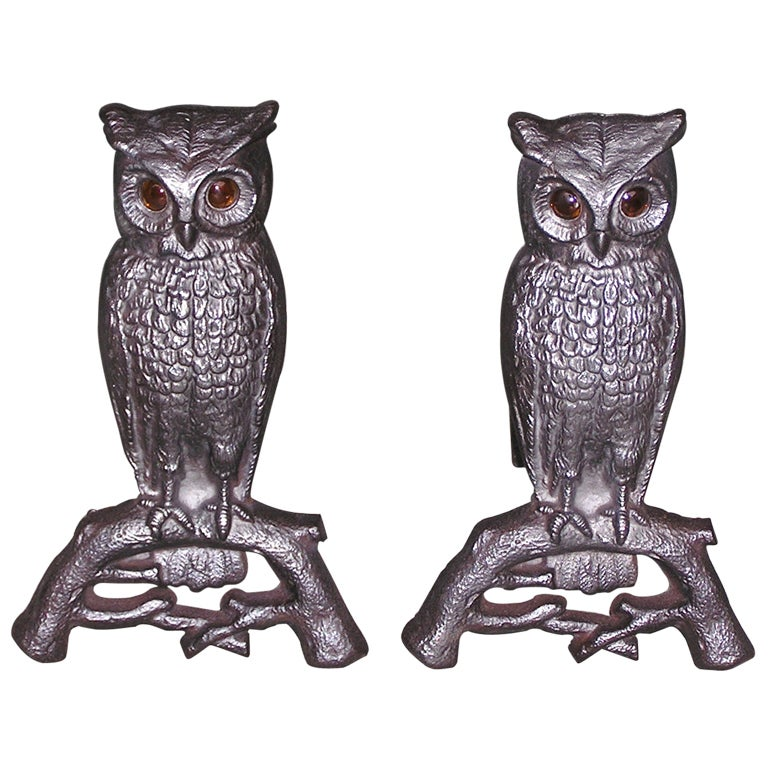 Pair of American Owl Andirons
