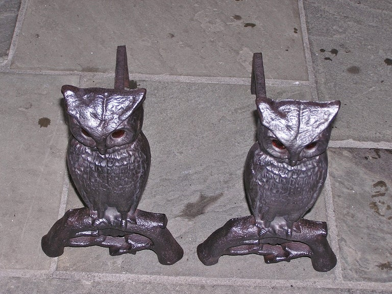 Pair of American cast iron owl andirons with original glass eyes perched on tree limb motif. Boston. Dealers please call for trade price.