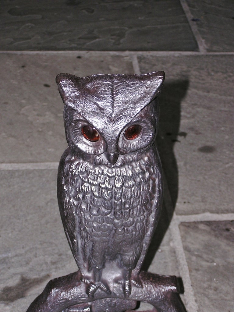 Pair of American Owl Andirons In Excellent Condition In Charleston, SC