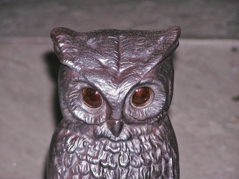 19th Century Pair of American Owl Andirons