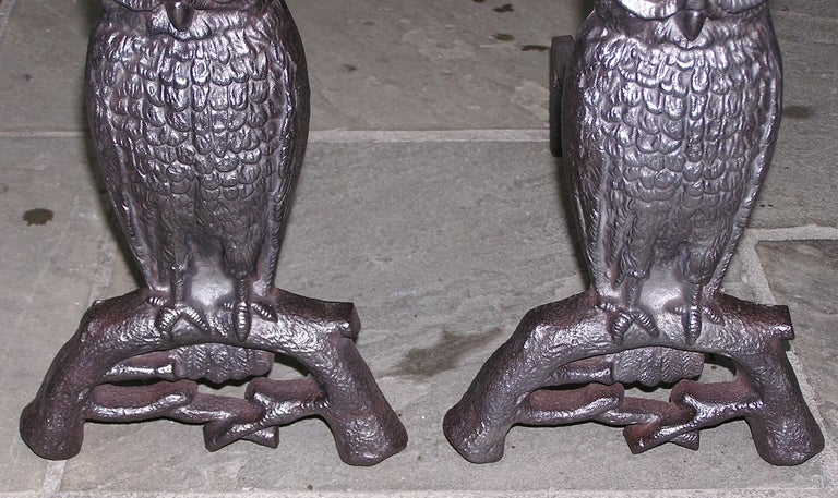 Pair of American Owl Andirons 1