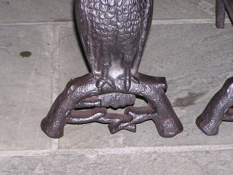 Pair of American Owl Andirons 2