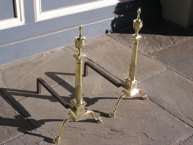 American Pair of Philadelphia Brass Andirons For Sale