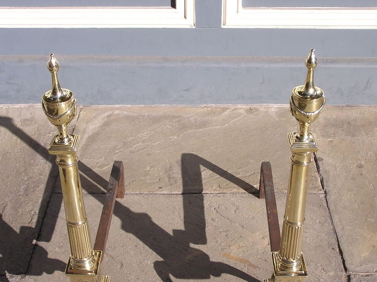 Pair of Philadelphia Brass Andirons In Excellent Condition For Sale In Charleston, SC