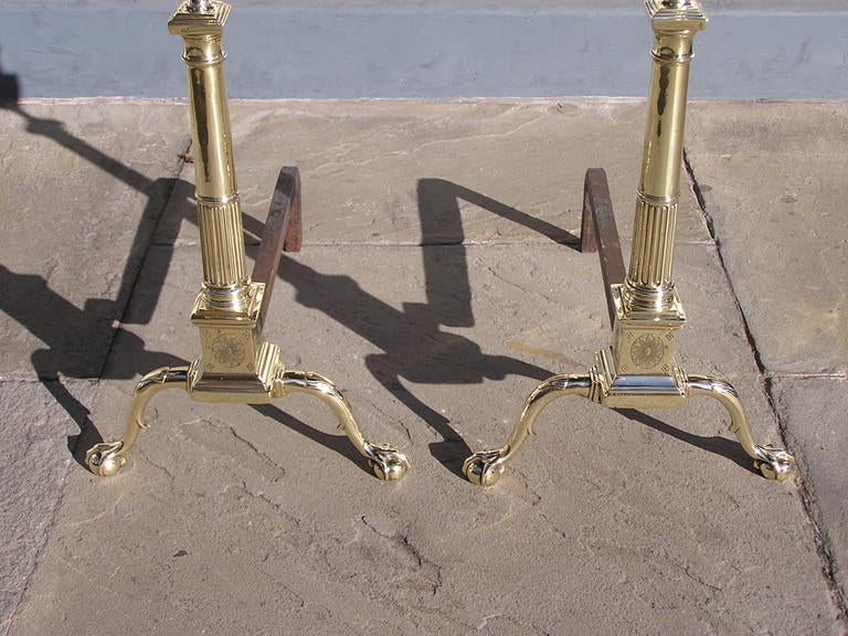 Pair of Philadelphia Brass Andirons For Sale 2