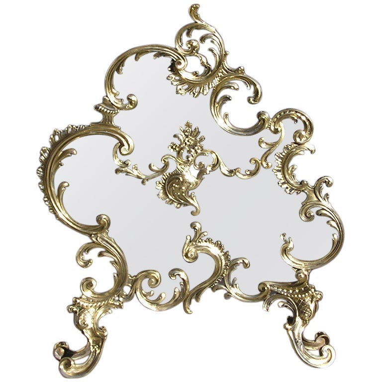 French Brass Rococo Fire Screen For Sale At 1stdibs