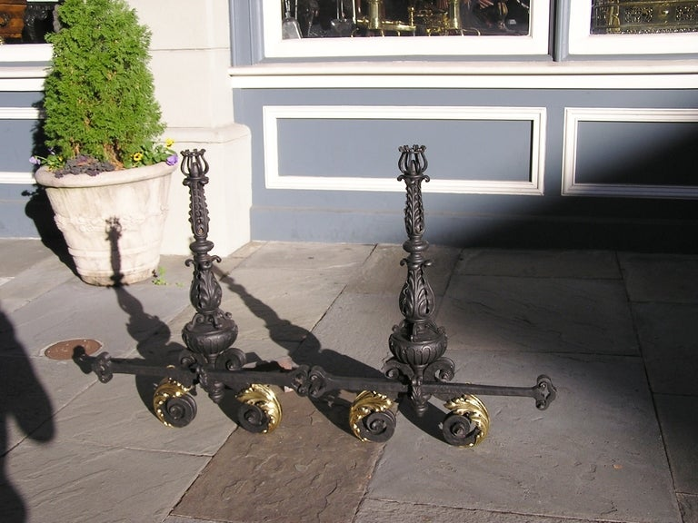 Pair of Italian Wrought Iron and Brass Andirons In Excellent Condition For Sale In Charleston, SC