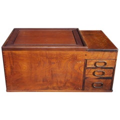 Japanese Three Drawer Copper Lined Hibachi. Circa 1870