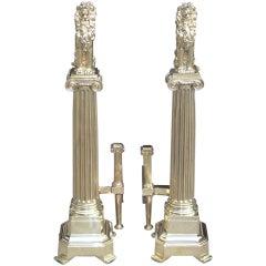Pair of English Brass Monumental Lion Andirons. Circa 1840