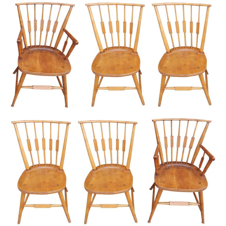 Set of Six American Maple, Cherry and Walnut Windsor Chairs, Circa 1820