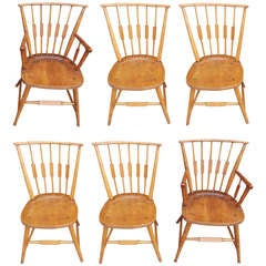 Set of Six American Maple, Cherry and Walnut Windsor Chairs, Circa 1820