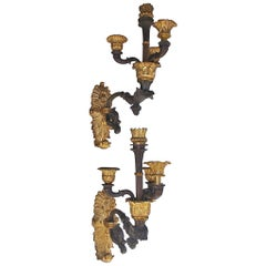 Pair of French Gilt Bronze Floral Sconces, Circa 1810