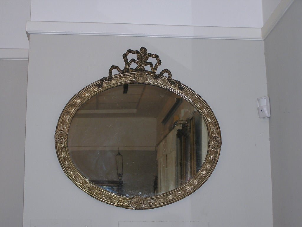 French Silver Gilt Tin Oval Mirror For Sale At 1stdibs