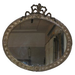 French Silver Gilt Tin Oval Mirror