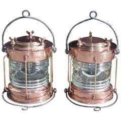 Pair of English Copper Anchor Ship Lanterns. Meteorite Firm, Circa 1910-20