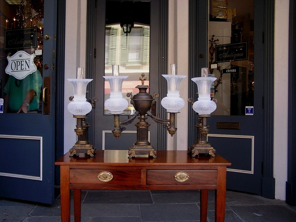 Set Of American Gilt Bronze Argand Lamps For Sale At 1stdibs