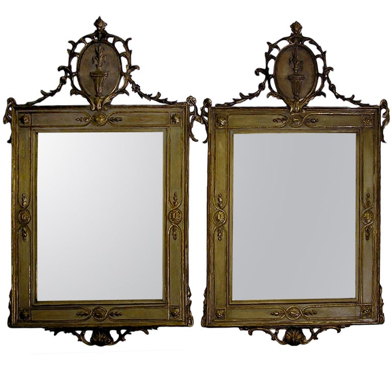 Pair of Italian Gilt and Painted Mirrors