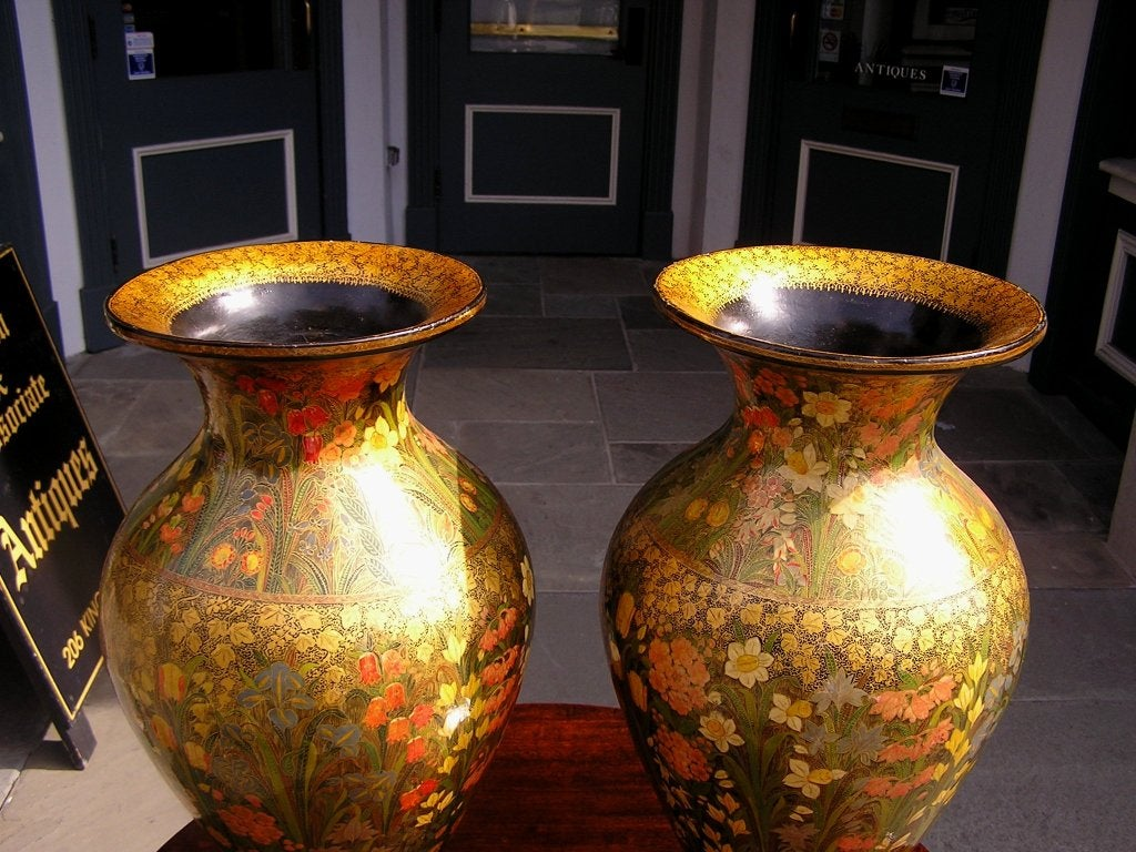 Pair Of Kashmiri Vases At 1stdibs